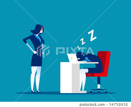 Angry boss looking office worker relaxing at desk 54758918