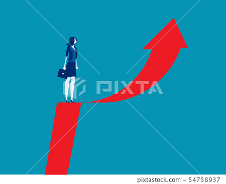 Businesswoman and arrow symbol. Concept business 54758937