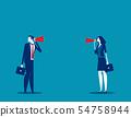 Business team communication through megaphone, 54758944