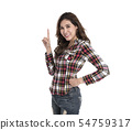 Portrait of cheerful asian woman pointing fingers 54759317