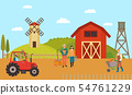Farmhouse with Farmers and Machinery, Barn Yard 54761229
