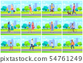 People in Park, Leisure of Man and Woman Vector 54761249