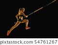 Female pole vaulter training on black studio background in neon light 54761267