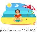 Kid Eating Watermelon on Beach, Summertime Vector 54761270