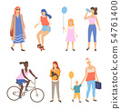 People Activity Outdoor, Walking Friends Vector 54761400