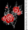 beautiful bouquet with red roses and leaves. Floral arrangement. design greeting card and invitation 54761931