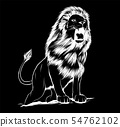 vector Illustration of angry leaping lion in black background 54762102