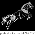 vector illustration of Silhouette of the running horse in black background 54762212