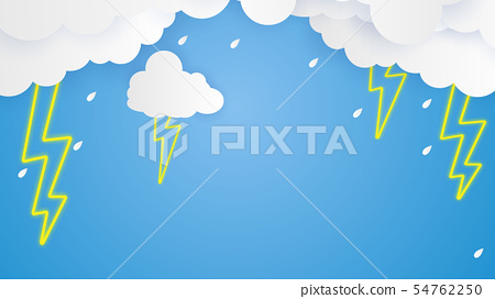 Cloud and rain on blue background 54762250