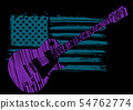 An Electric Guitar with American Flag Isolated on a black Background 54762774