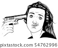 Suicide girl by handgun icon. Vector illustration 54762996