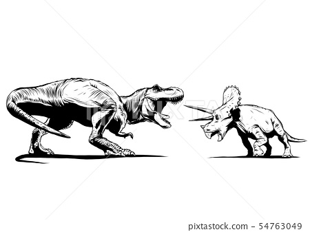 T Rex Versus Triceratops illustration with a tyrannosaurs rex attacking a triceratops dinosaur 54763049