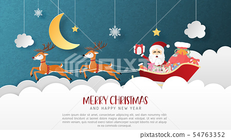 Merry Christmas and Happy new year greeting card 54763352