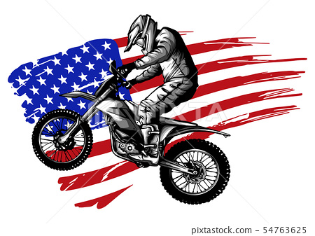 Hand drawn and inked American motocross motorcycle with american flag 54763625