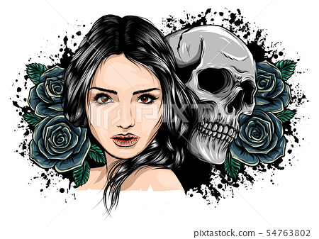 Girl with skeleton make up hand drawn vector sketch. Santa muerte woman witch portrait stock 54763802