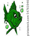 Vector aquarium fish silhouette illustration. Colorful cartoon flat aquarium fish icon 54763946