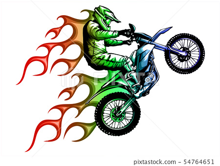 motorcycle with fire and flames vector illustration 54764651