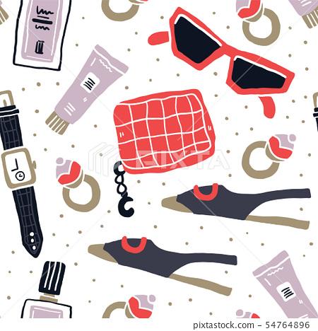 Fashion accessories flatlay seamless pattern 54764896