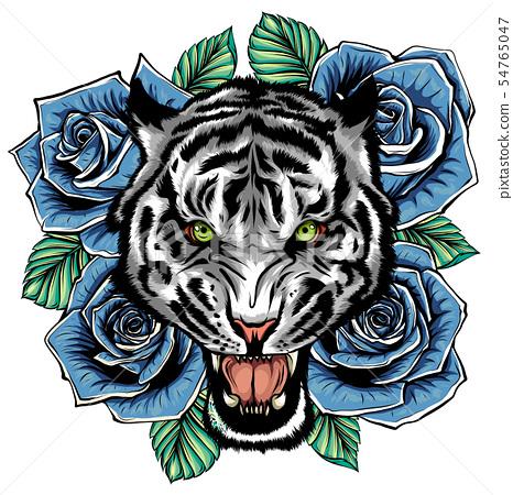 vector illustration of roaring tiger head and roses tattoo 54765047