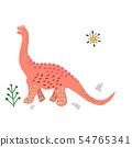 Pink Brachiosaurus cute illustration 54765341