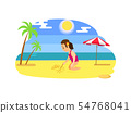 Child Drawing on Send, Beach and Ocean Vector 54768041