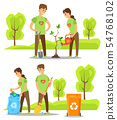 Volunteers Caring for Nature, Collecting Garbage 54768102