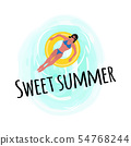 Sweet Summer Woman Laying in Lifebuoy Isolated 54768244