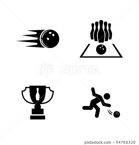 Bowling. Simple Related Vector Icons 54768320