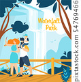 Informational Banner Waterfall Park Lettering. 54769466