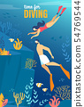 Informational Poster Inscription Time for Diving. 54769544