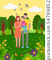 Happy Family Spending Time in Park, Nature Vector 54769852