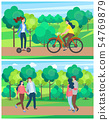 Summer Park Activities, Woman Riding Bike Vector 54769879