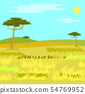 Panorama View of Savannah, Grass and Tree Vector 54769952