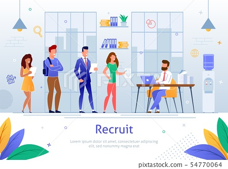 HR Manager Hiring Personnel Flat Vector Poster 54770064