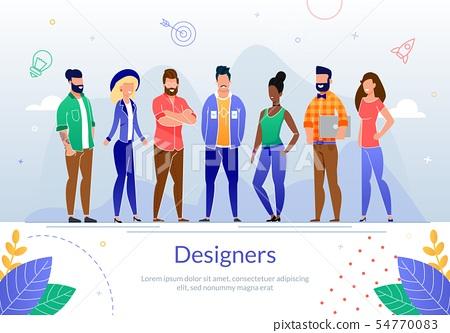 Design Professionals Team Flat Vector Poster. 54770083