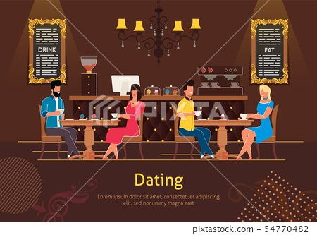 Dating in Coffee Shop Flat Vector Poster Template 54770482