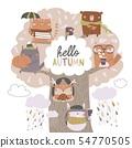 Cute animals sit on autumn tree on white background 54770505