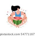 Funny woman eating watermelon flat vector illustration. 54771167