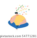Thoughtful man sitting thinking flat vector illustration 54771281