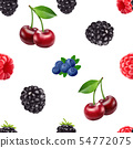Blackberry blueberry cherry and raspberry seamless pattern. 3d realistic vector berries. 54772075