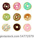 Set of nine glazed donuts. Vector illustration 54772079