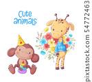 Cute cartoon animals monkey and giraffe hand drawing. 54772463