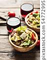 Healthy vegetarian salad with pearl barley 54772995