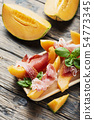 Italian antipasto with melon and ham 54773345