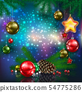 Celebration greeting with Christmas tree and 54775286