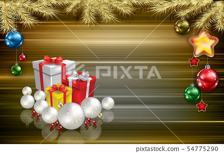 Abstract greeting with gifts and decorations 54775290