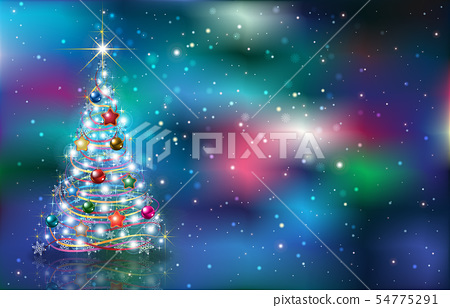 greeting with Christmas tree on grunge background 54775291