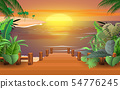landscape of wooden bridge on the beach in sunset 54776245