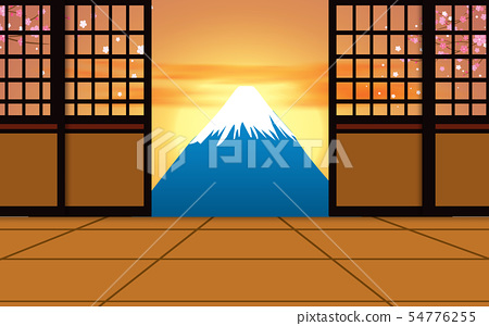 lanscape of fuji mountain in sunset 54776255