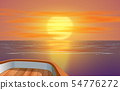 view of sunset at the ocean on wooden boat 54776272